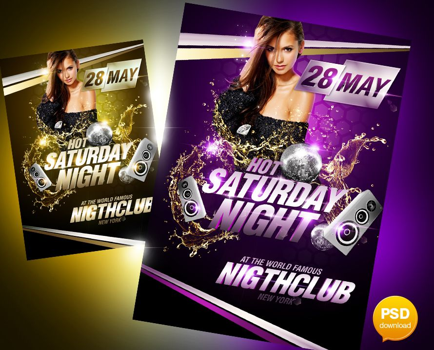 Hot Saturday Night Party Flyer PSD Template | Projects to Try ...