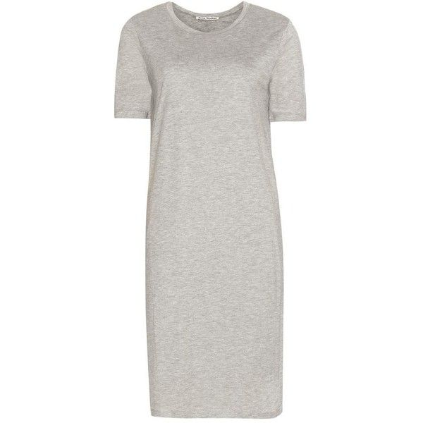 Acne Studios Obelia T-Shirt Dress ($210) ❤ liked on Polyvore featuring dresses, t shirt dress, light grey dress, acne studios, tee dress and tee shirt dress
