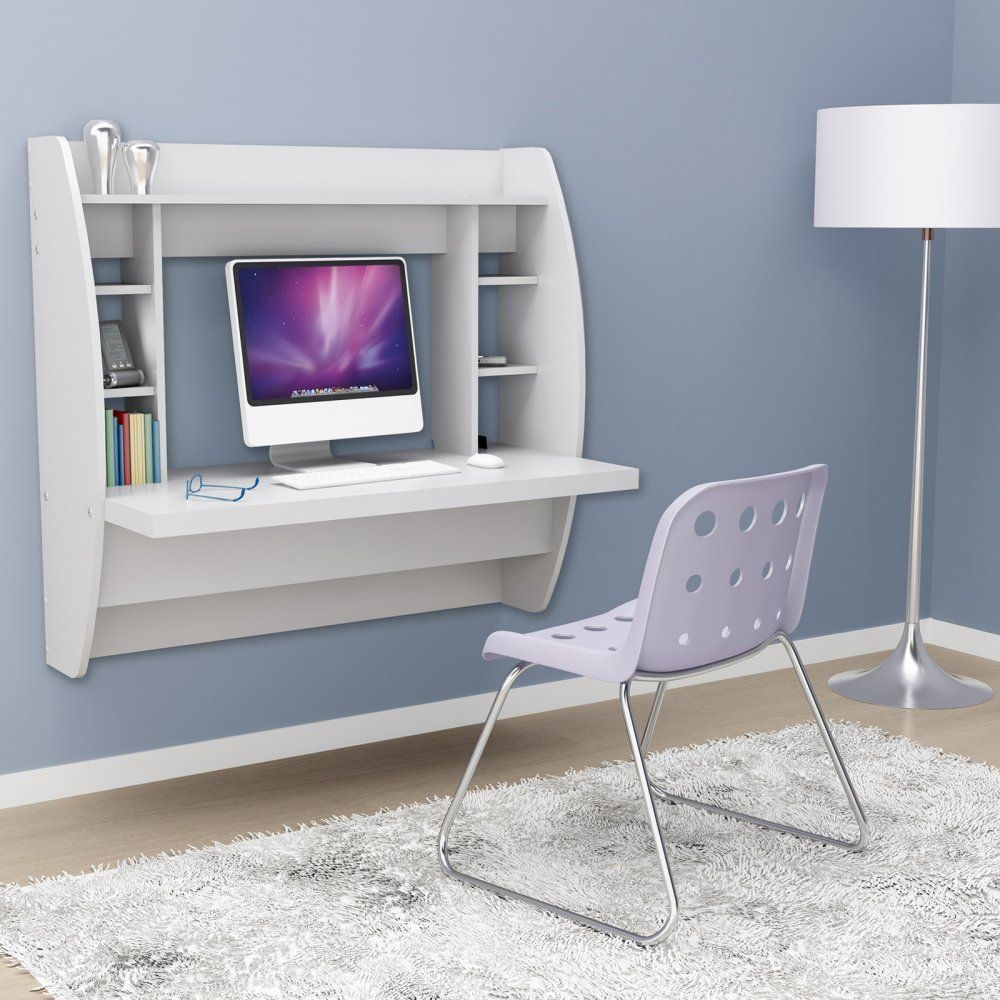 White Color Floating Desk With Storage For Compact Area White