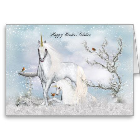 Winter Solstice Midwinter Greeting Card Unicorns Unicorns and winter snow with little robins greeting card #winter #solstice #midwinter #greeting #card #with #unicorns #unicorn #foal #robin #snow #scenery #fant #fantasy #cards #y...