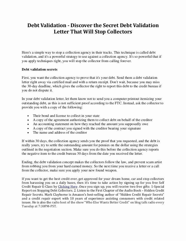 Debt Validation Letter Template Best Of Debt Validation Discover The Secret Debt Validation Letter Lettering Business Letter Example Letter Templates