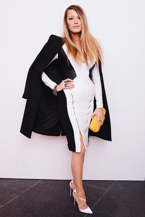 Blake Lively at the Gabriela Cadena F/W 15 show wearing a fitted black and white Gabriela Cadena dress and strappy Christian Louboutin heels
