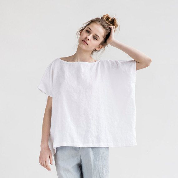 FLORENCE top / Oversized washed and soft linen top / Square linen ...