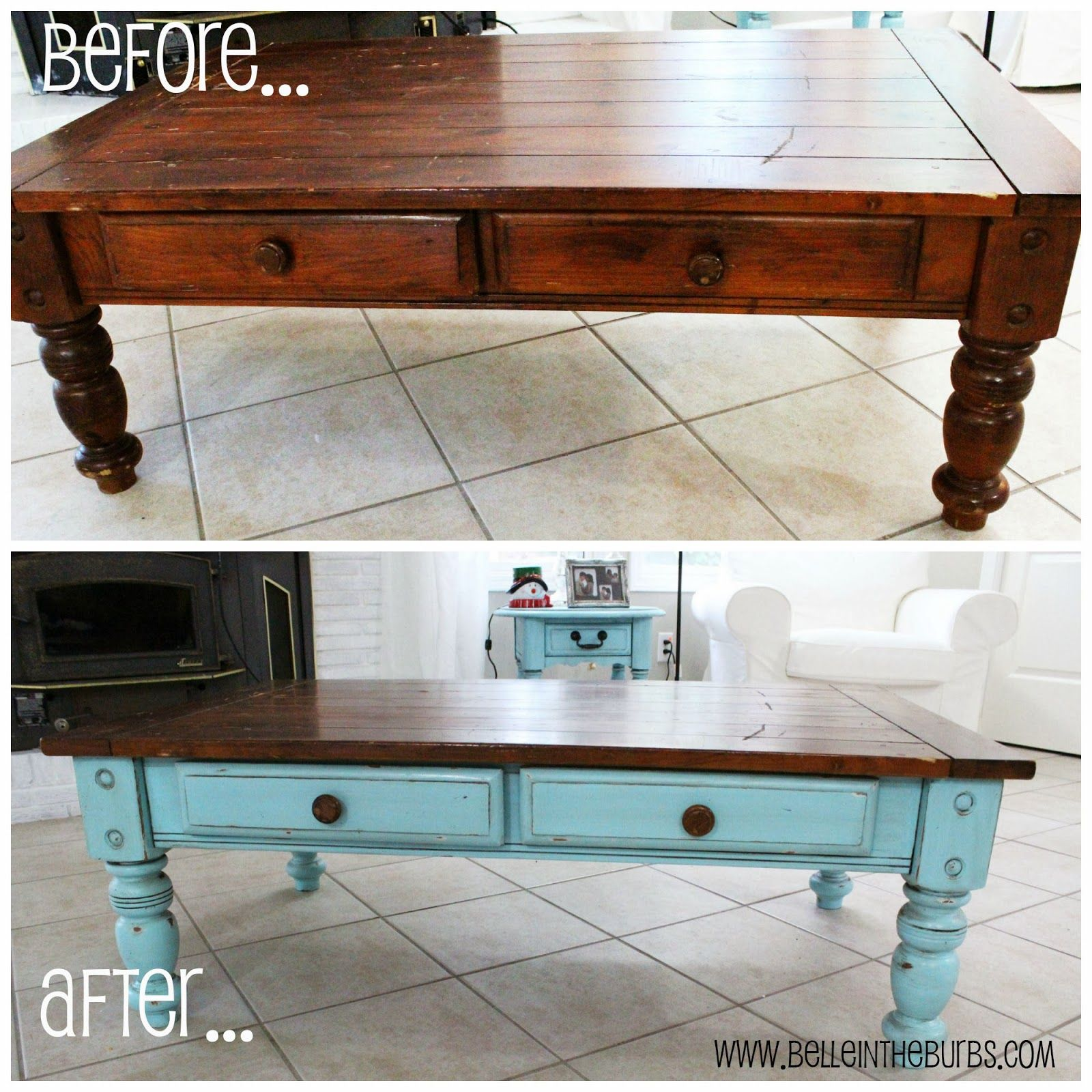 Two Toned Coffee Table Tutorial Painted Coffee Tables Coffee