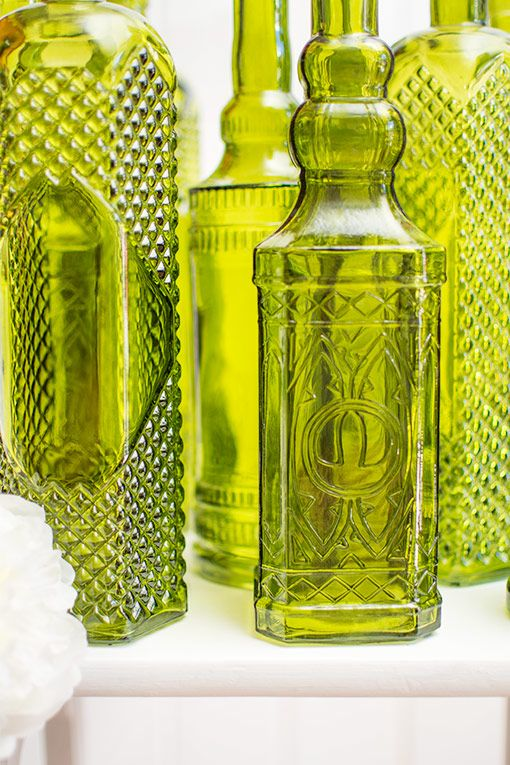 Vintage Decanter Bottles Asst 12in Glass Apothecary Vases Green