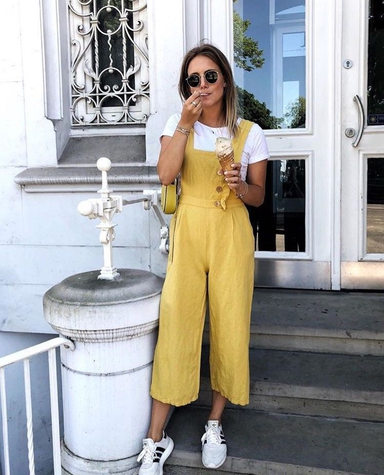 3db58bcd8d7 Zara Mustard Yellow Buttoned Linen Dungarees Jumpsuit Cropped ...