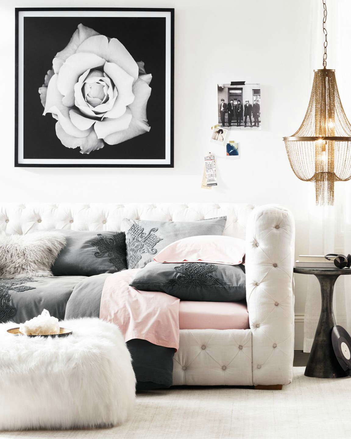 Elegant Tufted Daybed. Edgy Accents. Glam Style Girl
