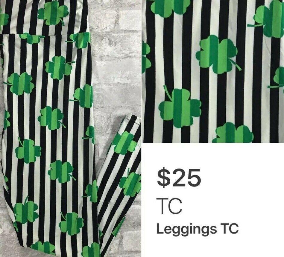 New LuLaRoe Magically You Leggings TC Tall /& Curvy St Patrick/'s black clovers