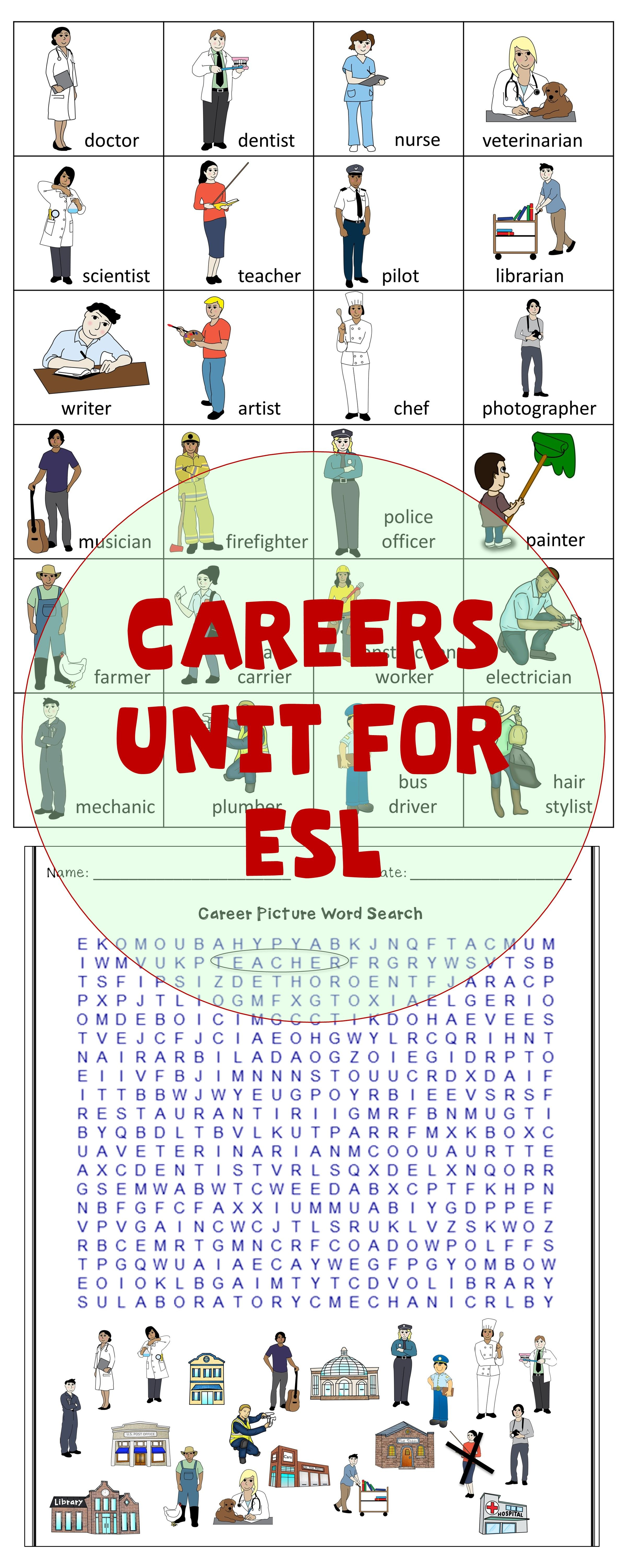 careers vocabulary unit for esl english language learners esl vocabulary and grammar lessons and english language learners esl vocabulary language learners careers vocabulary unit for esl