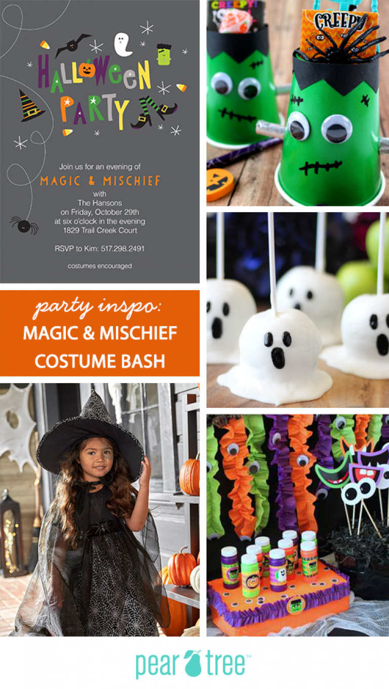 Party Inspo Magic Mischief Halloween Costume Party Pear Tree Blog The Perfec Halloween Party Themes Halloween Party Kids Kids Halloween Party Invitations