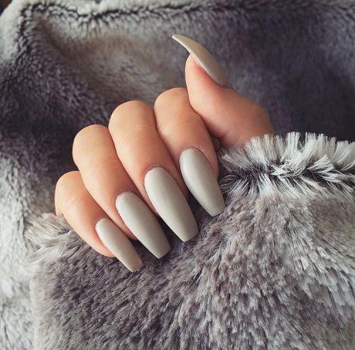 Expensivetastexox Light Gray Nails Coffin Nails Matte Grey Matte Nails