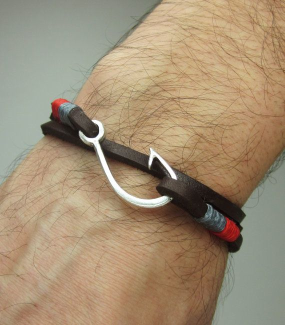 Fish Hook Bracelet In Brown Leather Red