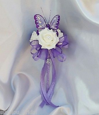 Wedding Flowers Bridesmaids Bouquet Wands Ivory Purple Lilac Erfly Wand