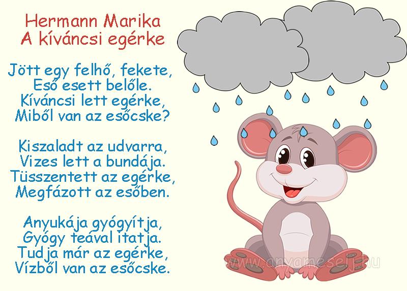 Hermann Marika: A kíváncsi egérke című mesés verse