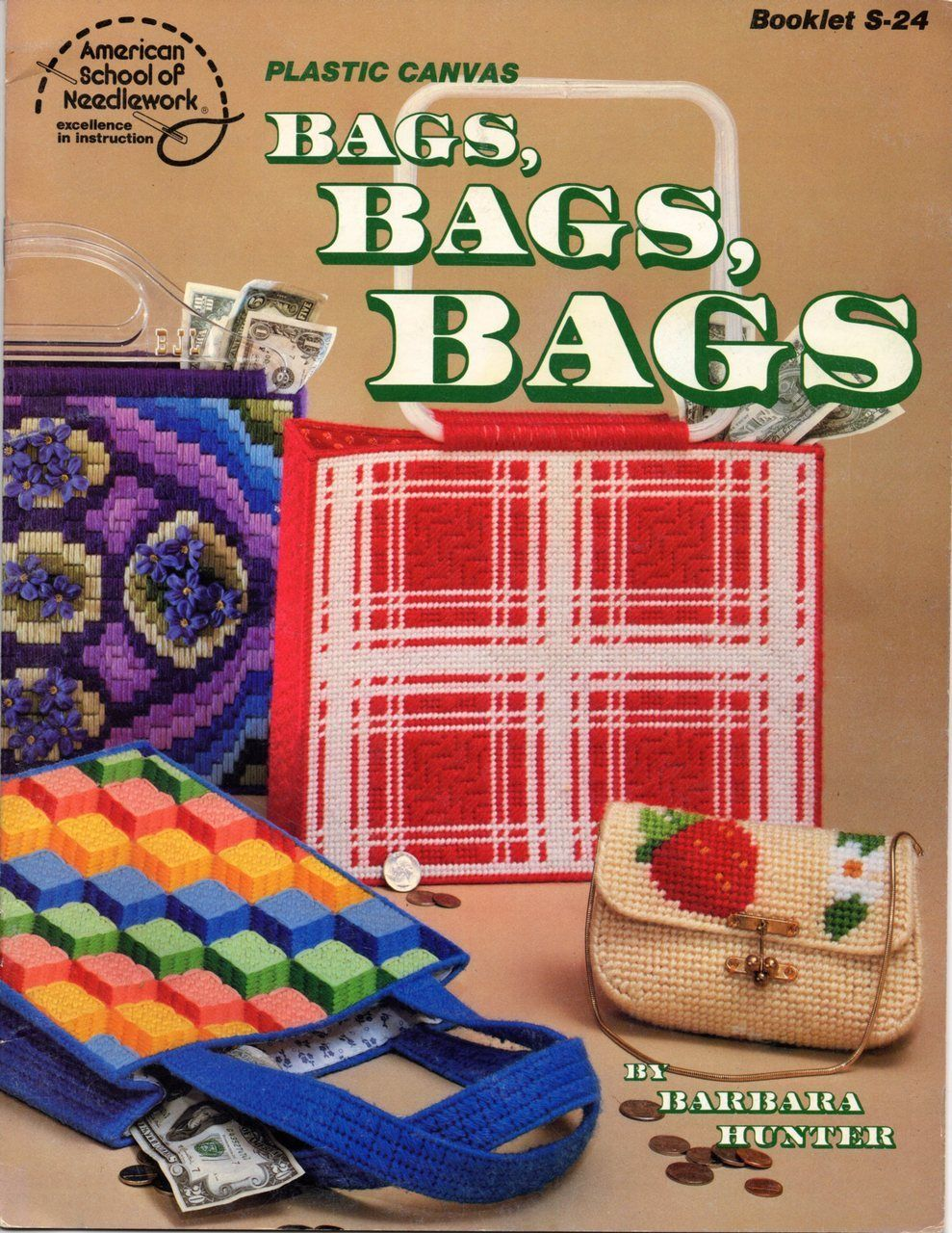 Plastic Canvas Bags Pattern Book Easy To Make Handbags Purses