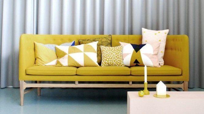 Choisir les coussins pour accessoiriser le canap canap jaune coussin gra - Coussins pour canapes ...