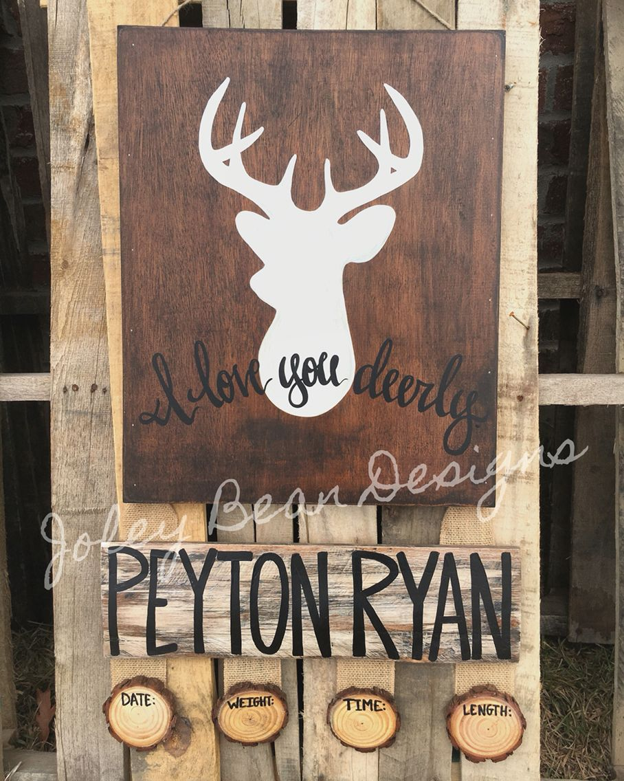 Joleybeandesigns Bykassidy Deer Baby Boy Door Hanger Nursery