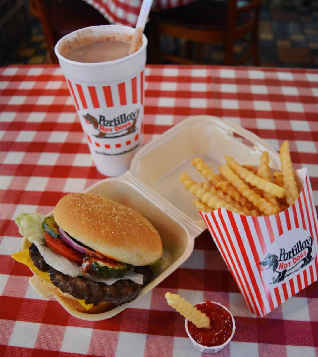 A Portillo's classic: cheeseburger fries and a chocolate cake ...