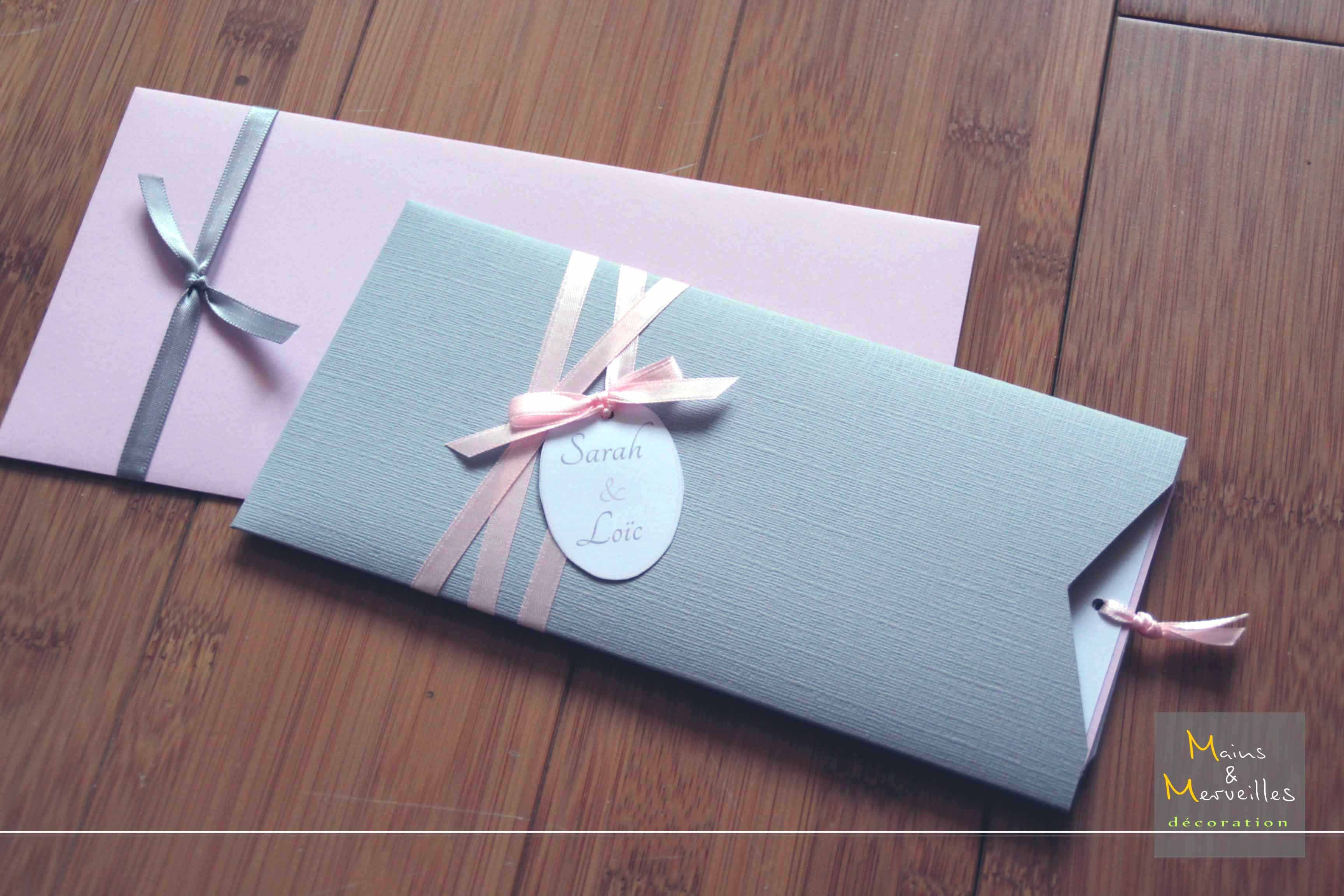 faire part mariage pochette gris perle et rose poudr. Black Bedroom Furniture Sets. Home Design Ideas