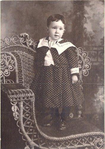 Antique Photograph Child Polka Dot Dress Wicker Chair