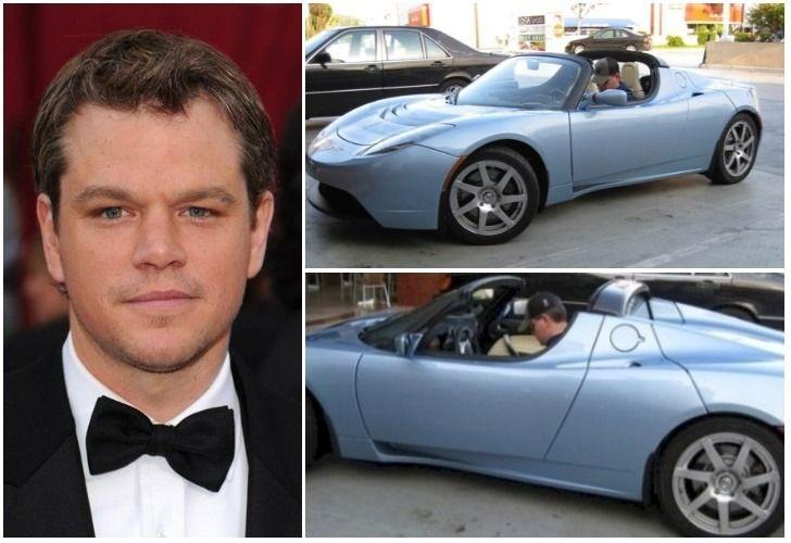 Mattdamon Tesla Roadsters Hybrid Electro Convertible Car Auto Insurance Carinsurance Carloan Interior Vehicle Luxury Fame Rich Celebs
