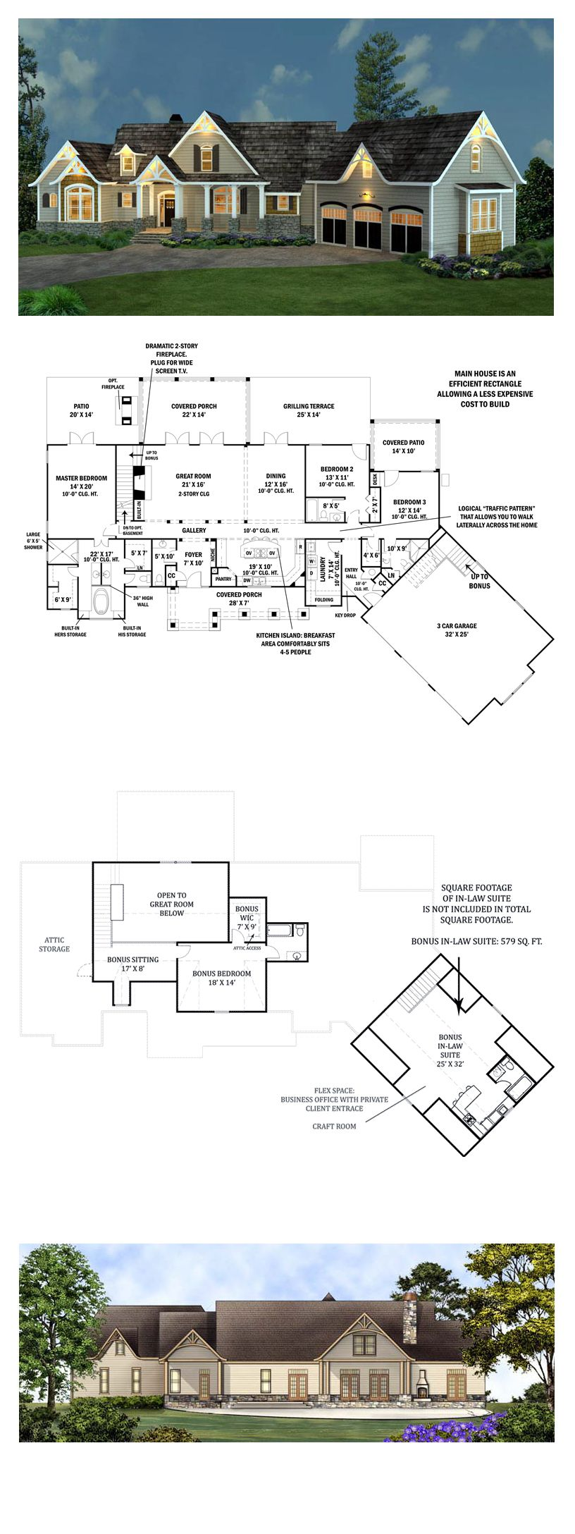 Ranch House Plan 98267 | Total Living Area: 2498 sq. ft., 3 bedrooms & 3.5 bathrooms. Stone, siding and cedar shakes blend beautifully together to create a unique look for this rustic ranch style home. The full front porch is ideal for peaceful evenings. #familyhomeplans