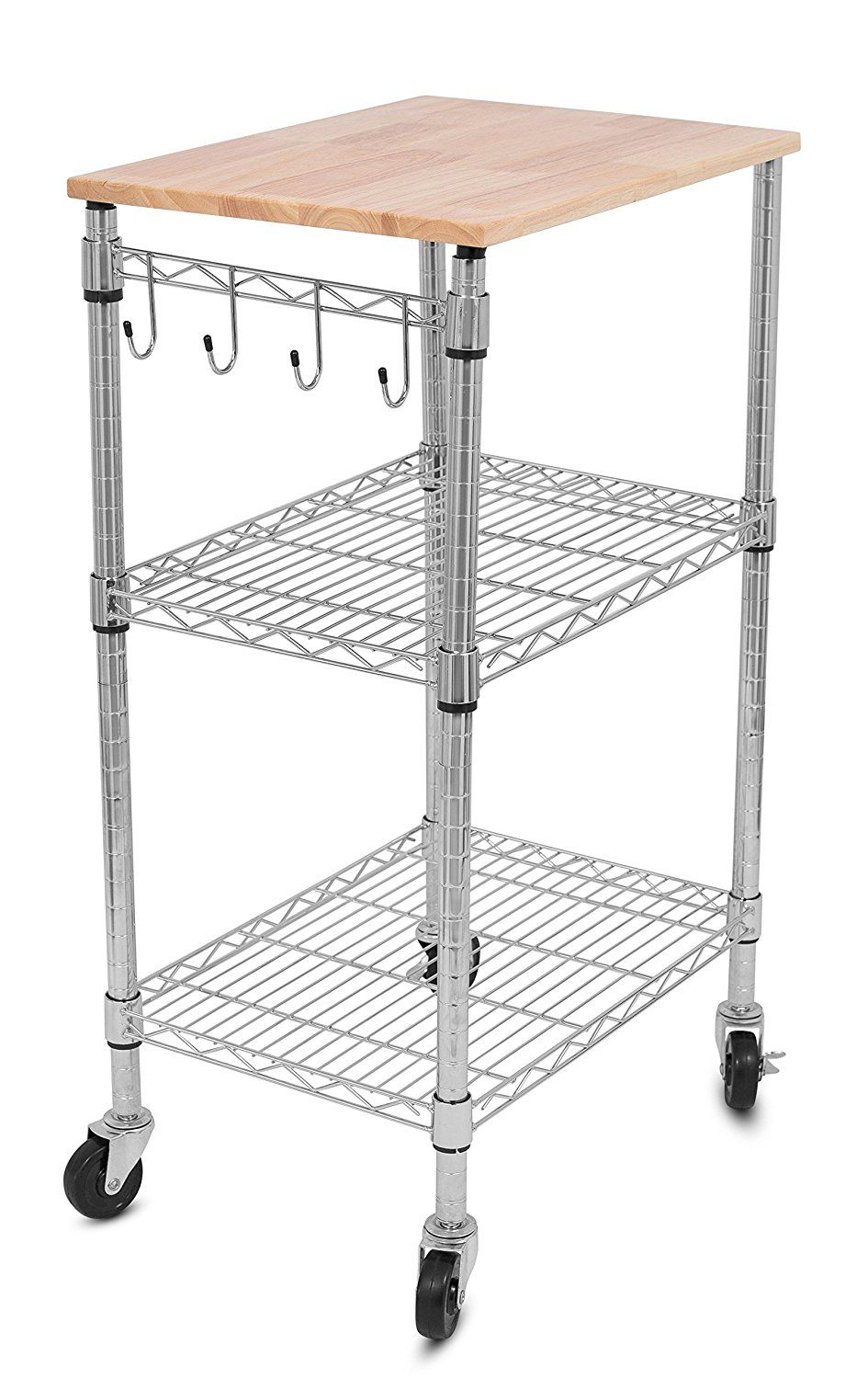 Internets best kitchen cart kitchen island trolley with locking wheels removable cutting board 4 hooks for cooking utensils extra rolling adjustable