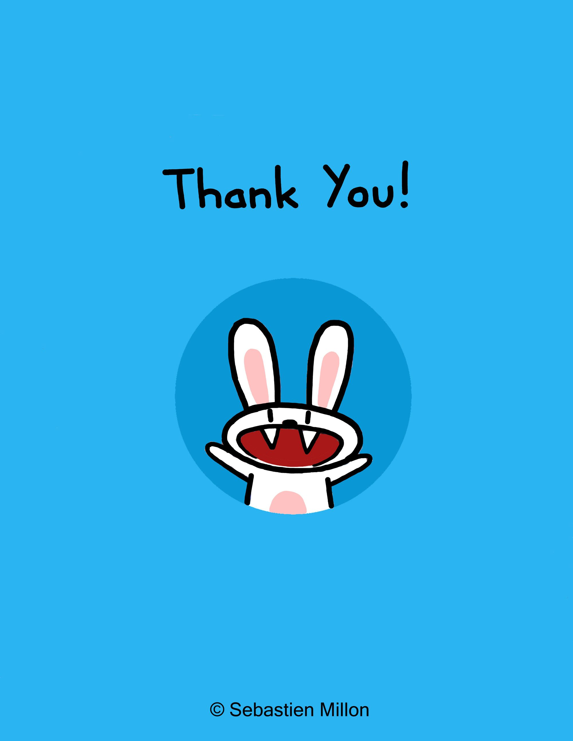 Thank You Card Design Featuring My Insane Rabbit Character Thank You Images Funny Funny Thank You Cards