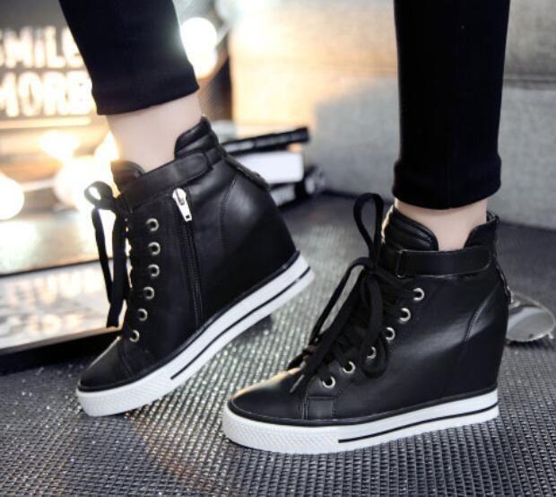 Women's Fashion Lace Up Platform Zipper Hidden Heel Ankle Boots