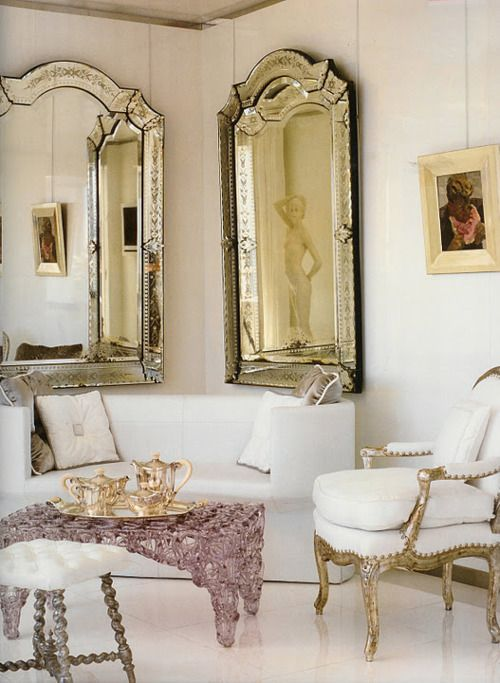 Love The Gilded French Side Chairs And Vintage Venetian