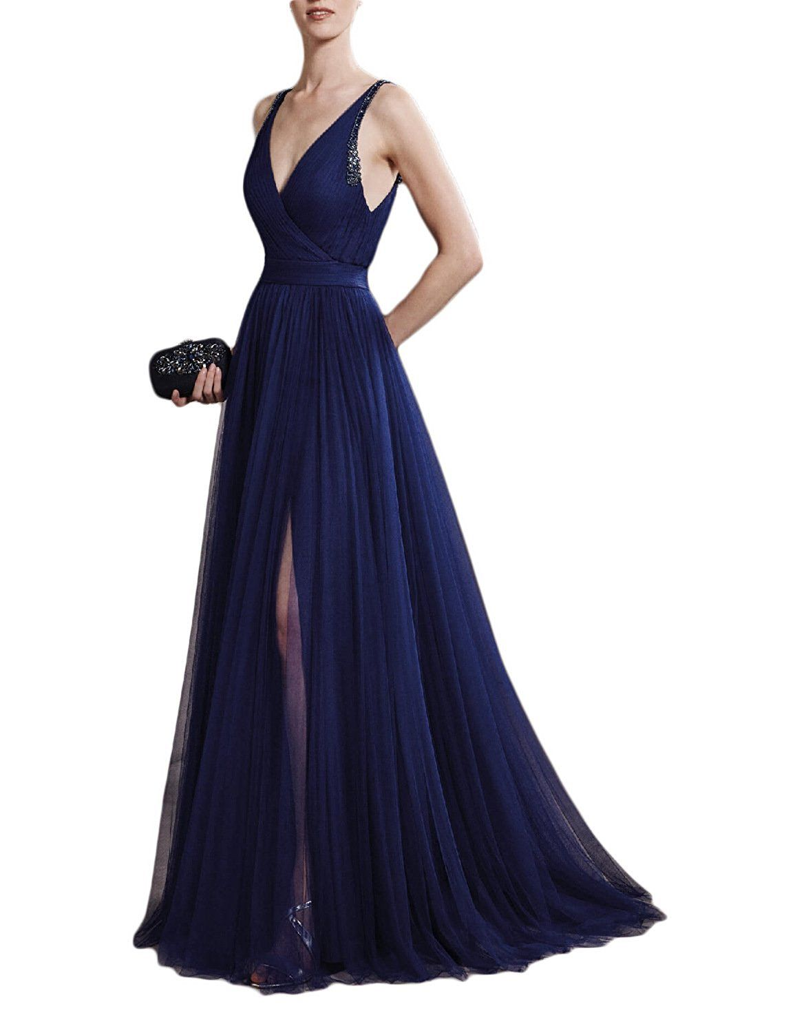 Vanial womenus v neck backless evening dresses prom gowns with high