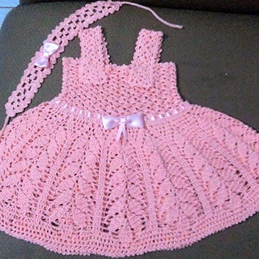 40 Eye Catching Crochet Baby Dresses & Sets | Vestido de bebé, Bebé ...