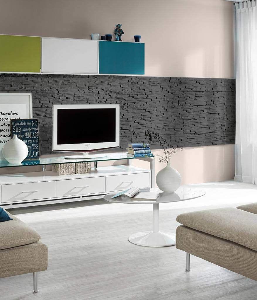 Wandverkleidung Aus Styropor Im Steindesign Coole Diy Deko Fur Die Wand In 2020 Steinwand Wohnzimmer Verblendsteine Steinwand
