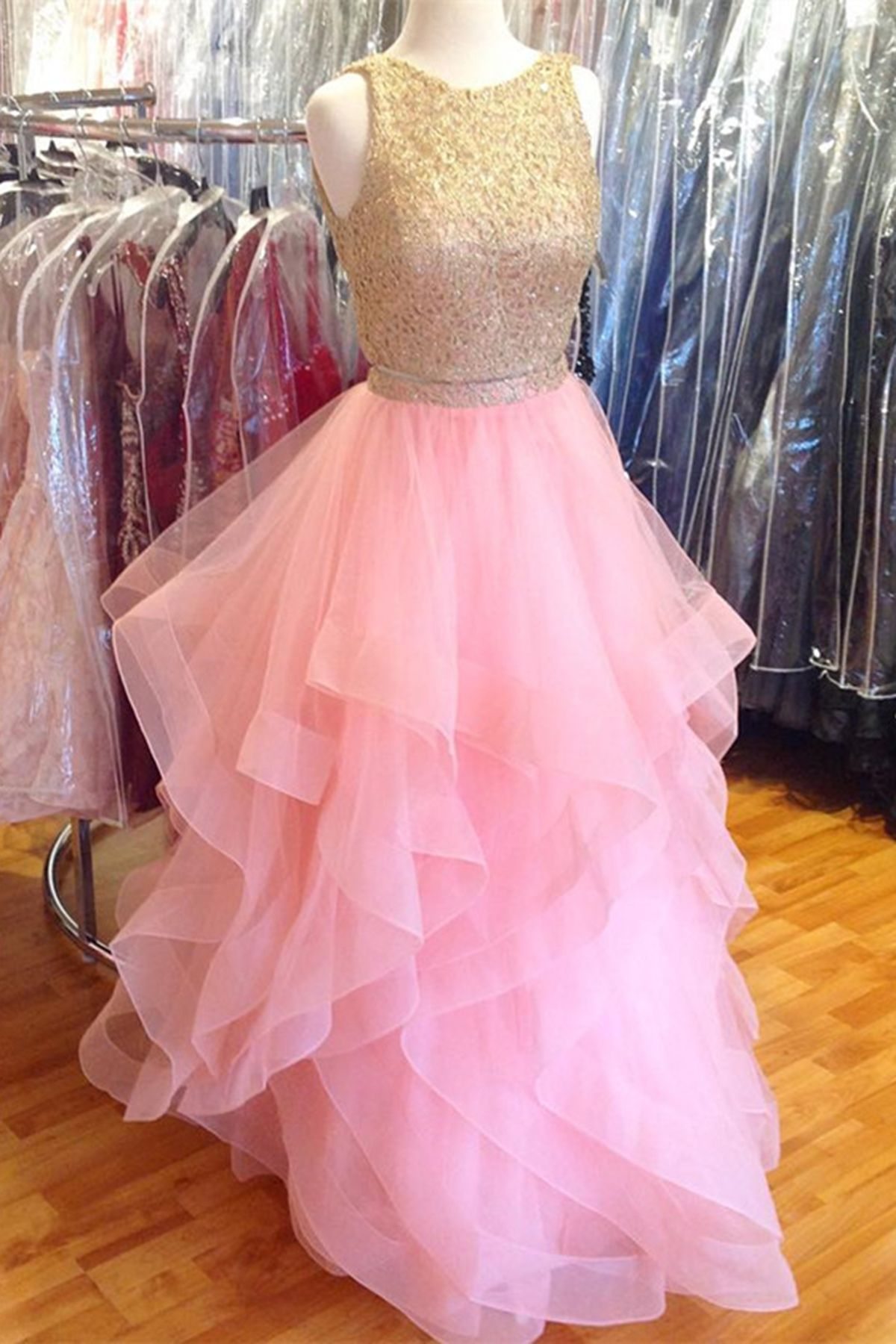 Pink tulle two pieces fashion long prom dress lace top evening