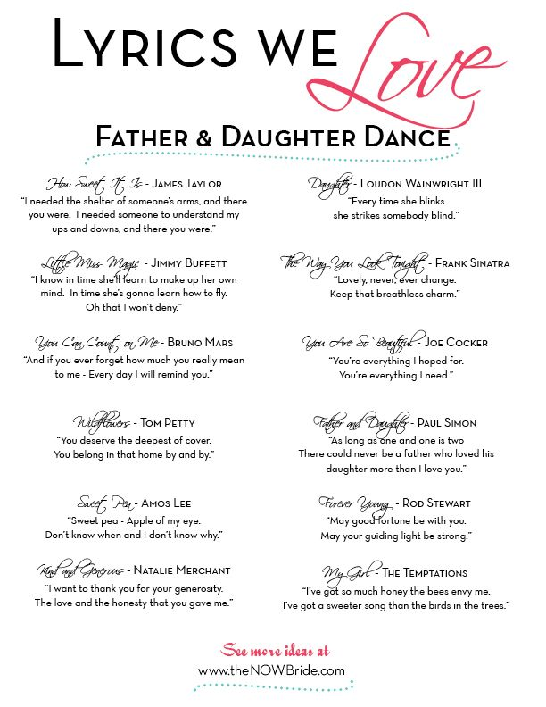 Father Daughter Dance Songs Lyrics We Love Thenowbride Com Father Daughter Dance Songs Daughter Songs Father Daughter Songs