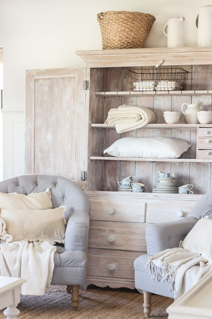Hutch In The Living Room An Antique Styled Simply But Beautifully This Indiana Farmhouse