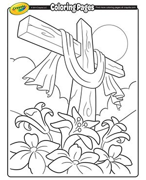 Cross Easter Coloring Page