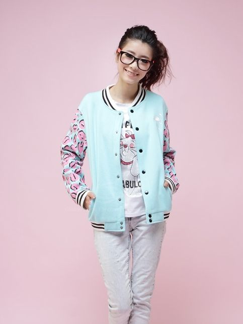 cf3865e95437a Pastel Blue with Pink Lips Baseball Jacket from Underground Galaxy on  Storenvy