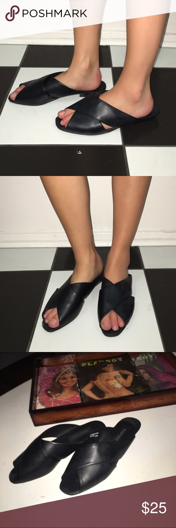 Black chic sandals 👠 Only worn once. In great condition! Vegan leather sliders by passport. Vintage dead stock. Size 10! Runs small best for a 9 / 9.5 super comfy shoe and could easily be dressed up Vintage Shoes Sandals