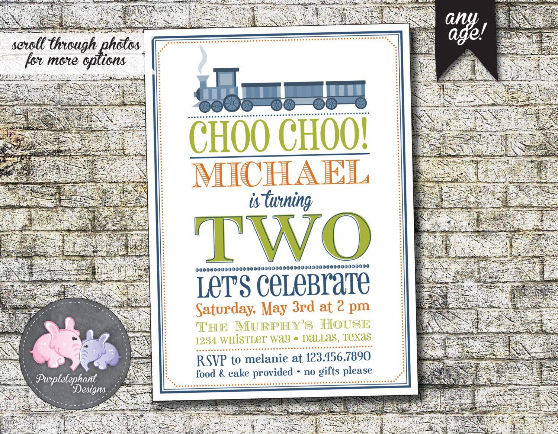 Choo Choo Train Birthday Invitation, Boy\'s Train Birthday Party ...