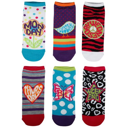 Days Of The Week Socks Womensminicciwomen S 6 Pk Groovy Days Of The Week Socks Con