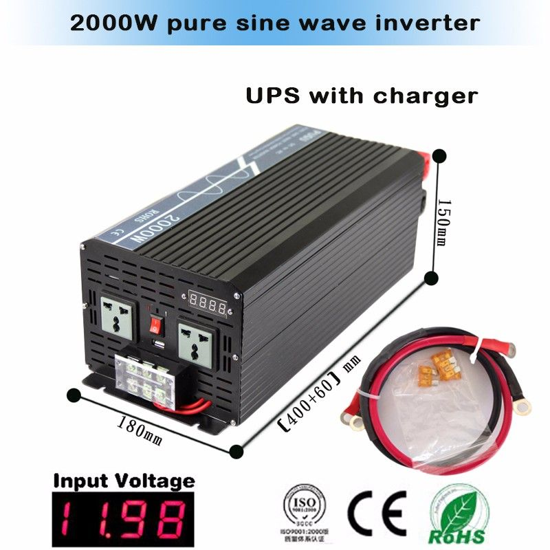 Factory Price 2000w Pure Sine Wave Automatic Inverter Charger 12vdc To 220vac With High Frequency Solar Power House Sine Wave Solar Power Inverter