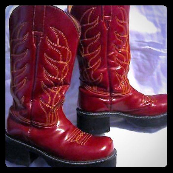 73b1dc2b057 John Fluevog cherry red platform boots 9.5 FLUEVOGERS UNITE ...