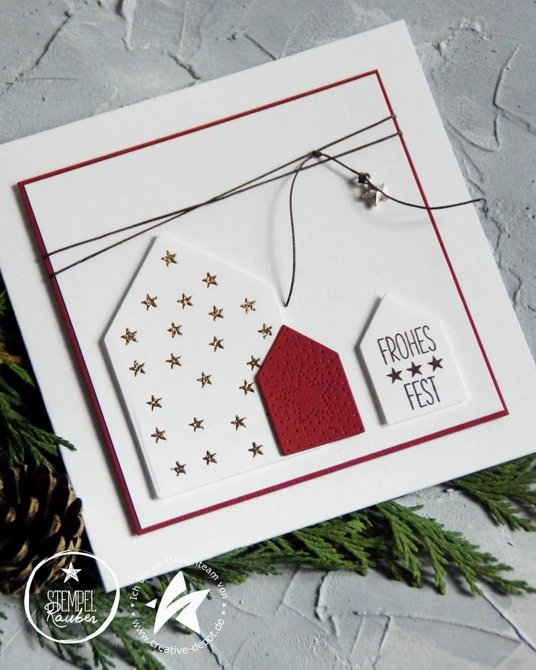 """Anja Höft on Instagram: """"WERBUNG für Produkte von @creative.depot Für meine heutige Karte habe ich das Set Hintergrund Haus Weihnachten verwendet. Auf dem großen…"""""""