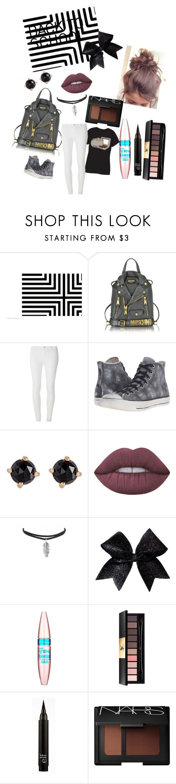 """""""Back to school"""" by pedlight ❤ liked on Polyvore featuring Moschino, Pusheen, Dorothy Perkins, Converse, Irene Neuwirth, Lime Crime, Maybelline, Yves Saint Laurent and NARS Cosmetics"""