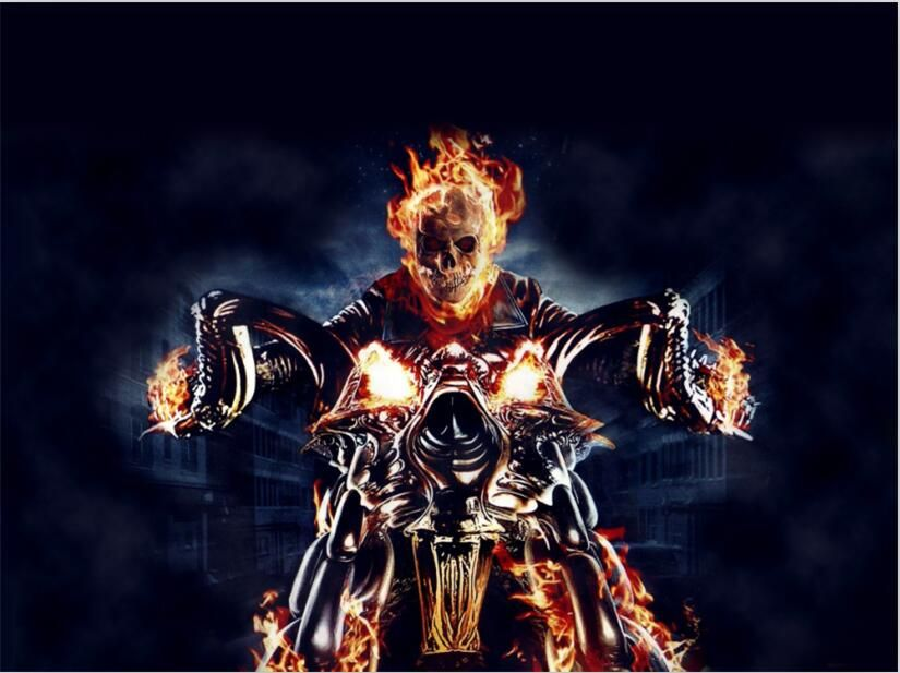 Flaming Skull Motorcycles Motorbike And Human Skull On The Fire Aggressive Attractive Big Ghost Rider Wallpaper Ghost Rider Motorcycle Ghost Rider Marvel