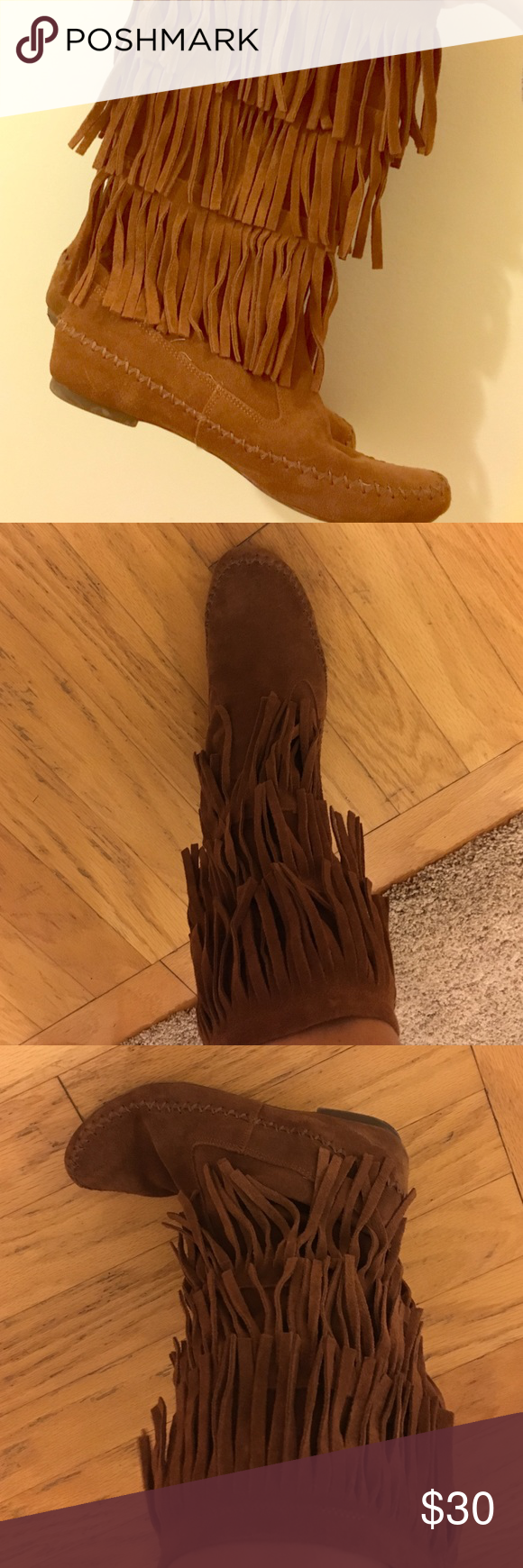 Brown Lauren Conrad boots! Brown suede boots with 3 rows of fringes ..only worn about 3 times still in great shape and so comfortable! LC Lauren Conrad Shoes