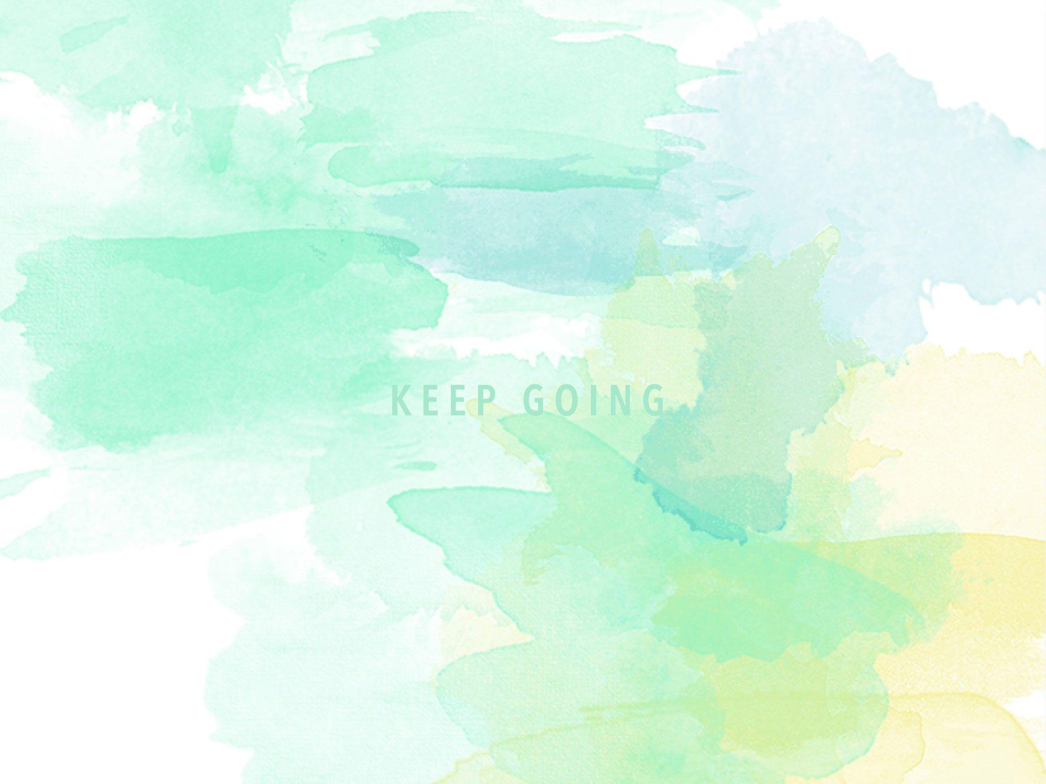Mint Aqua Yellow Watercolour Keep Going Desktop Wallpaper