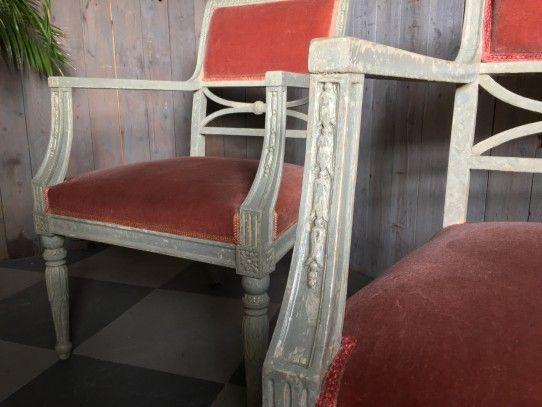 2 Gustavianische Armlehnstühle, Schweden 19 Jhd Bernhardts - bemalte mobel romantischen motiven