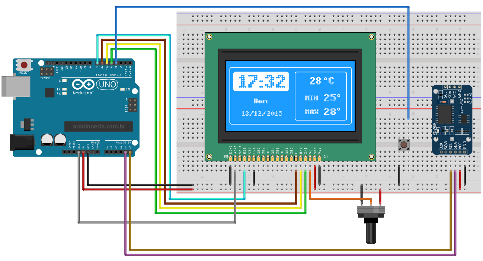 Relgio Com Display Lcd 128x64 E Mdulo Rtc Ds3231 Arduino And Real Time Clock Circuit Schematics Circuito